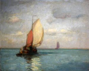 Otterschip zeielned op de Schelde