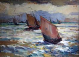 Thuisvarende Oostendse vissersschepen gouache