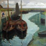 Afgemeerde hengsten in de haven van De Paal