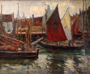 Haven van Nieuwpoort olieverf op doek 1910